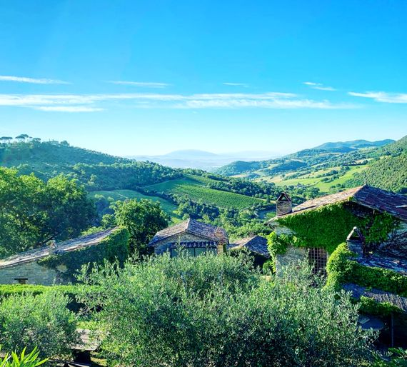 View from Casa San Gabriel down towards Assisi and Mt. Subasio