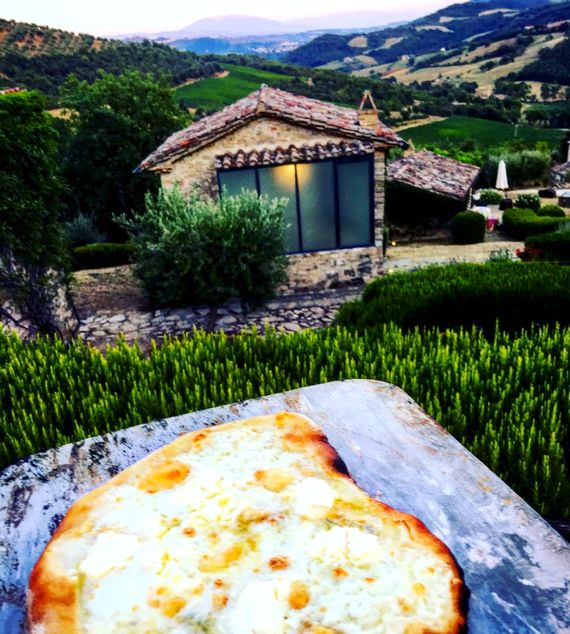 Pizza night with view over La Cantina, down the valley