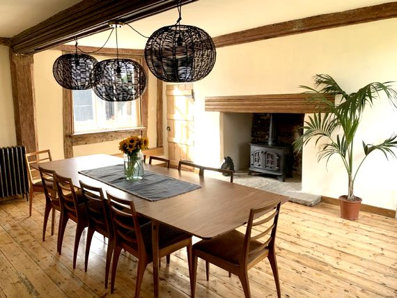 Dining room with wood stove