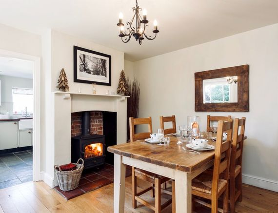 Dining room with woodburner, wood included