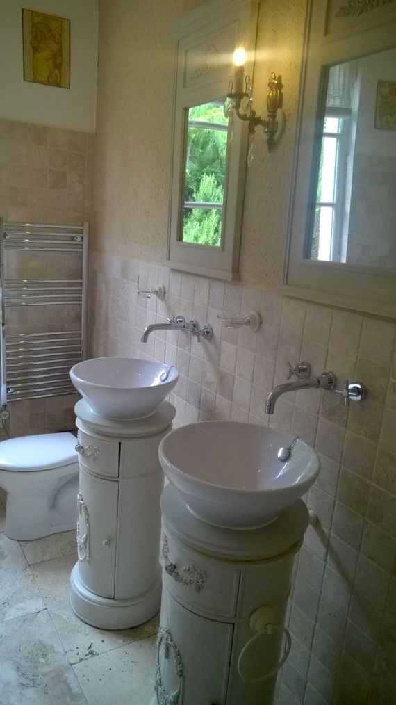 One of the two stylish bathrooms
