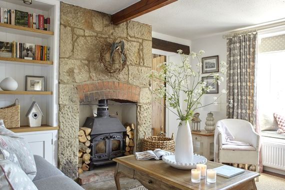 Living Room with Log Burner and Window Seat