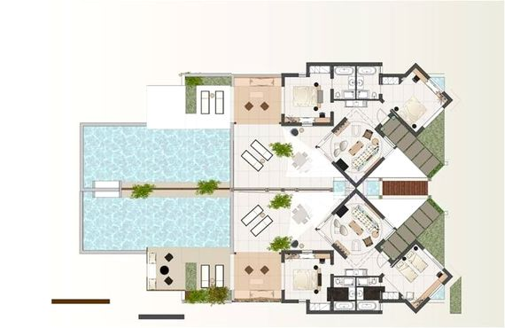 Floorplan shows 4-bed luxury residence (double of 2-bed residences but with internal wall and end part of pool wall removed in 4-bedroom configuration)