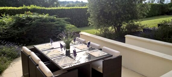 Lavender Suite terrace is a lovely spot for an aperitif and to watch the sunset