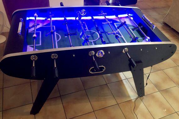 Table football in the vast sitting room