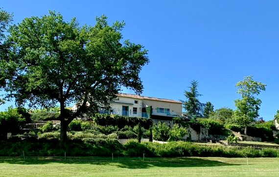 The villa has wonderful views. The Farmhouse is on the left and The Barn on the right, joined via their sitting rooms