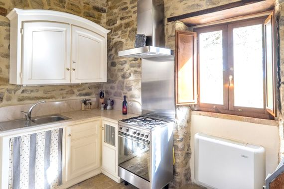 Kitchen with Smeg stove