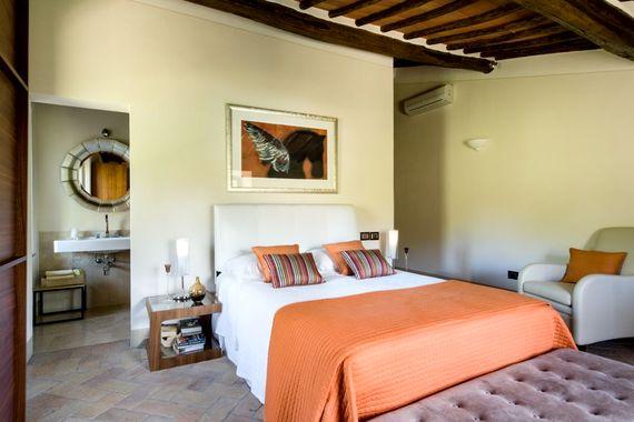 Double en-suite bedroom with air con overlooking pool
