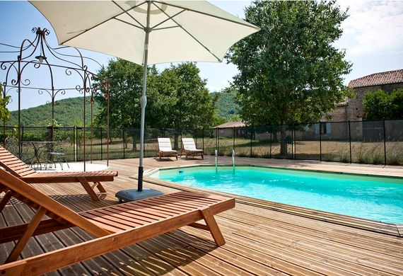 Relax by the private heated pool