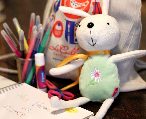 Kids pack - backpack, bunny, pens, glue & sketchbook