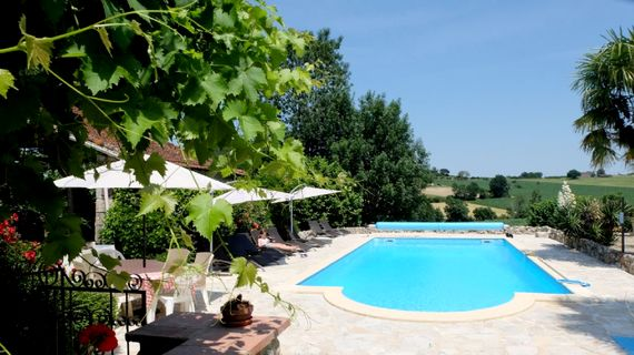 The pool has stunning views over open countryside, the perfect spot to soak up the sun.