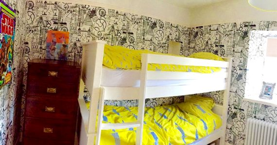 Children's room with adult sized bunks