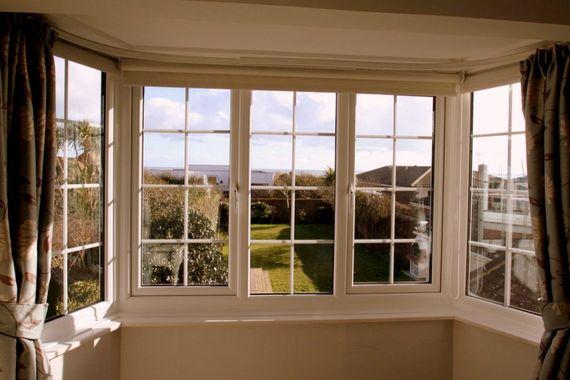 Main bedroom bay window with sea views