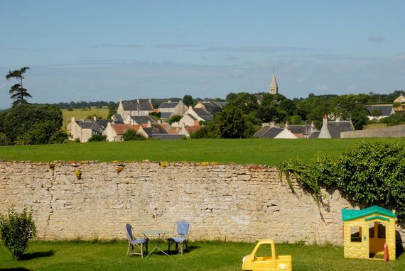 View to the village of Longues-sur-Mer