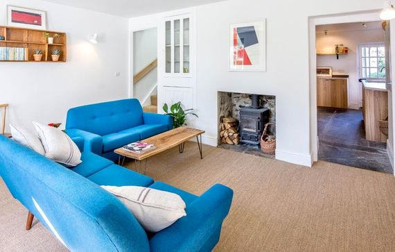 Living area with cosy wood burner