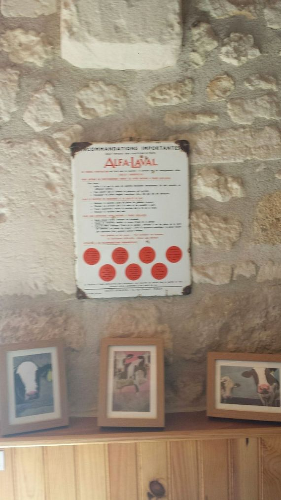 Proof that L'Etable was a cowshed - this original Alfa Lavel milking machine notice was fund in the barn