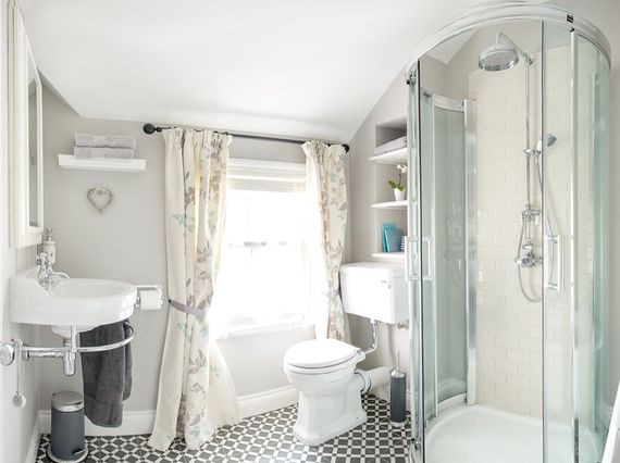 Family bathroom with dual shower heads
