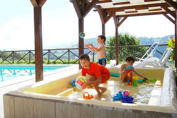Our heated splash pool & slide