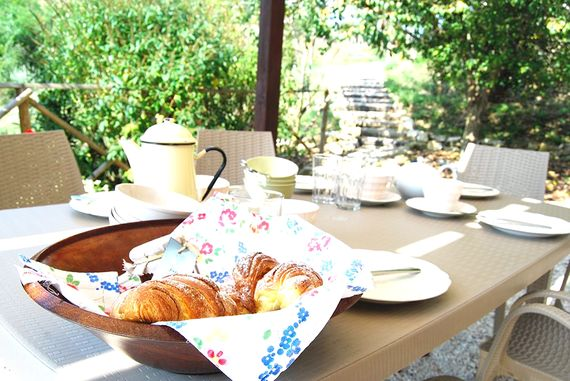 Alfresco breakfast on the terrace - delivered to your holiday home