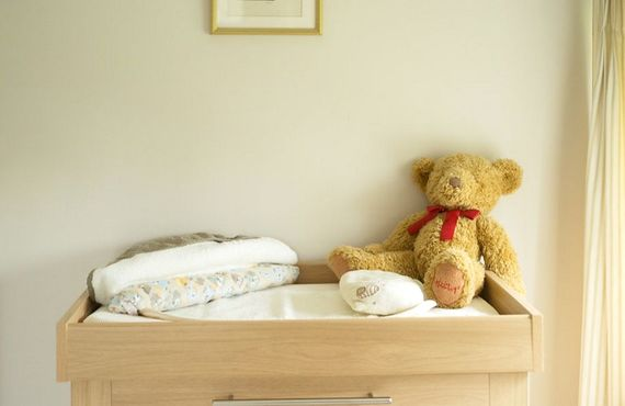 Single room, with changing station, that can take a cot