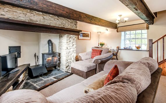 Foxglove cosy sitting room with log burning stove