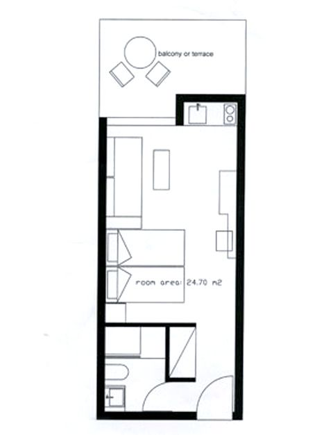Garden View Studio Plan (may vary slightly)