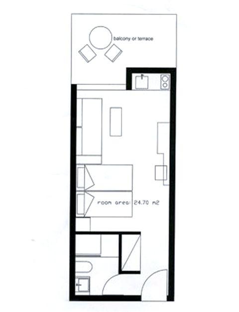 Garden View Studio Plan (may vary slightly)