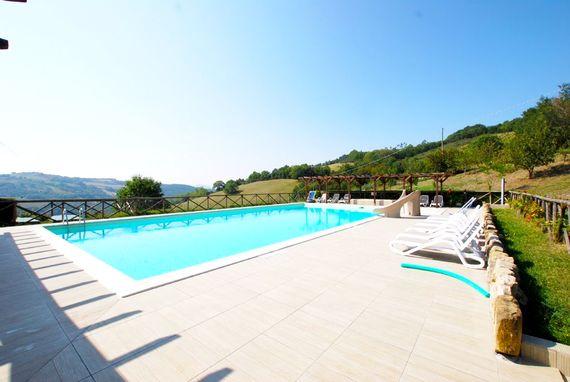 The pool, slide and heated splash pool