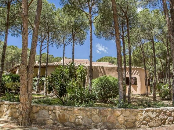 Villa exterior, set around pine trees and gardens
