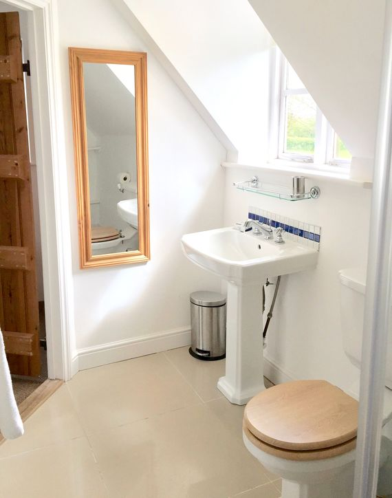 Ensuite king bedroom overlooking garden with shower cubicle