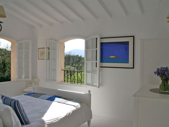 Double bedroom (first floor) showing the stunning views and the evening sunlight.