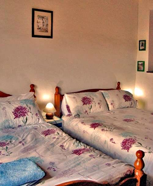 Bedroom with two double beds and patio doors leading to your private pool